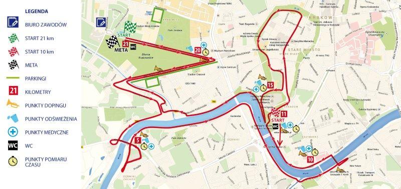 Półmaraton Marzanny - trasa