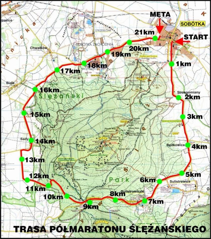 Trasa Półmaratonu Ślężańskiego