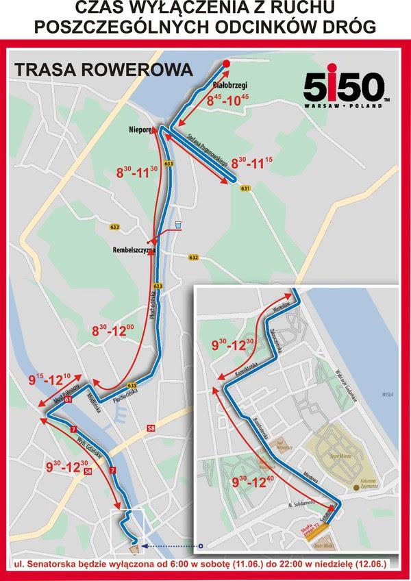triatlon Warszawa utrudnienia w ruchu